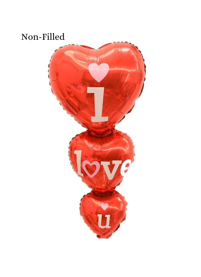 I Love You Three Hearts Foil Balloon 40 inch Red