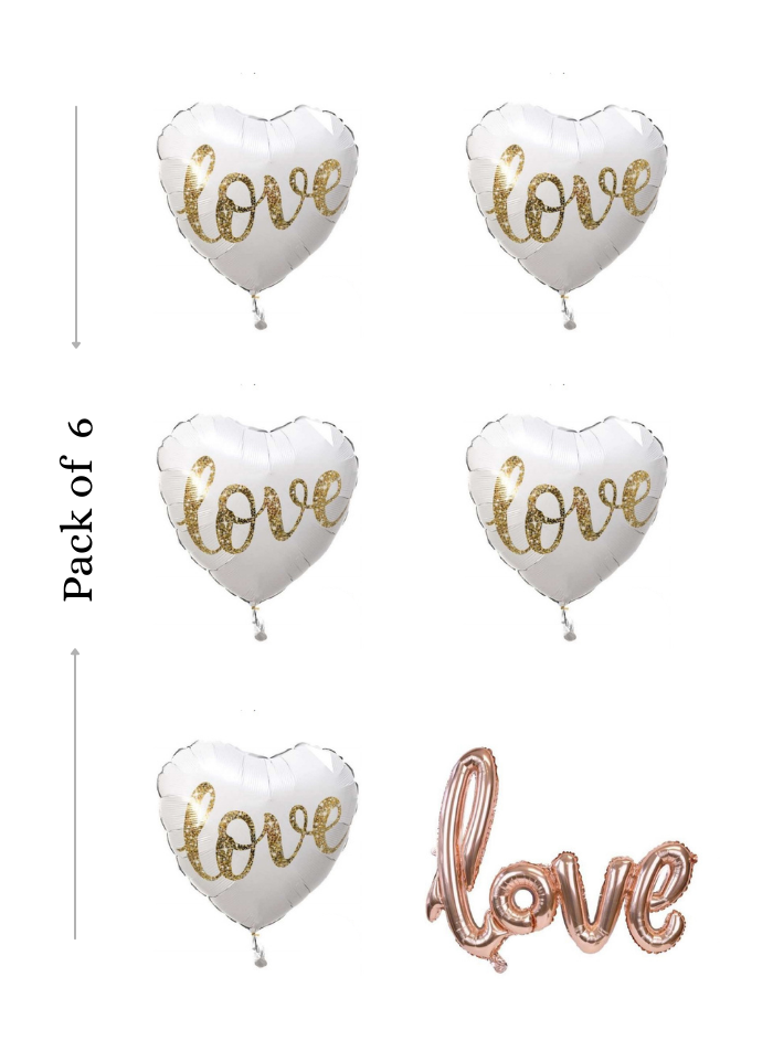 Love foil balloon 6 pieces pack of 1
