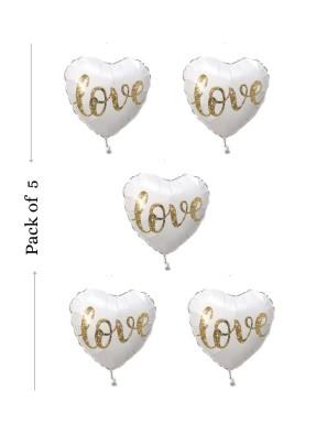 Love heart shape foil balloon 18 inch pack of 5