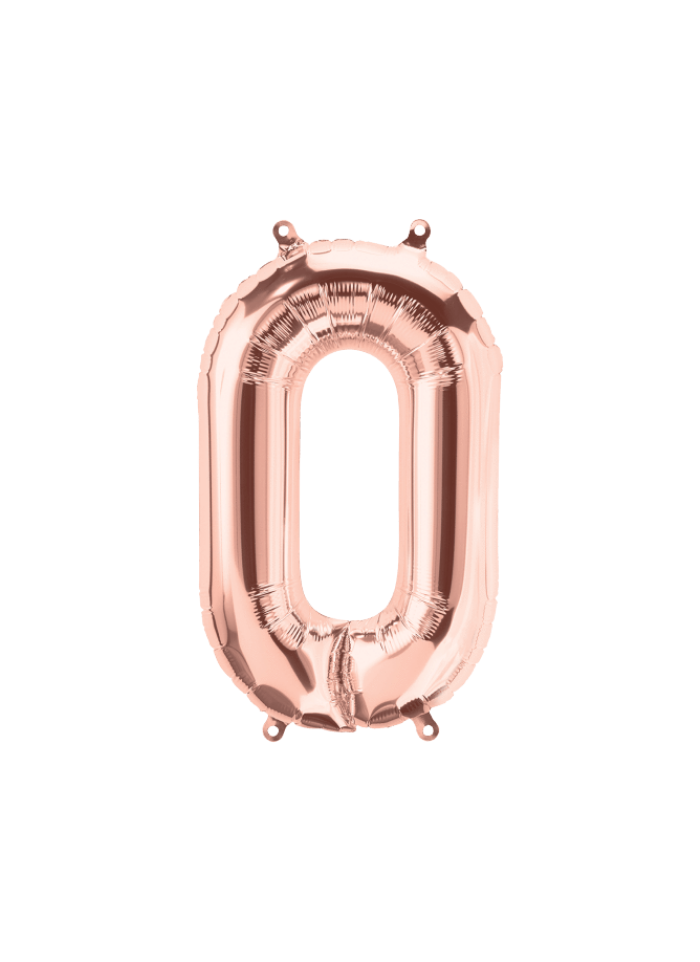 Number 0 Foil Balloon Rose Gold 16 inch pack of 1