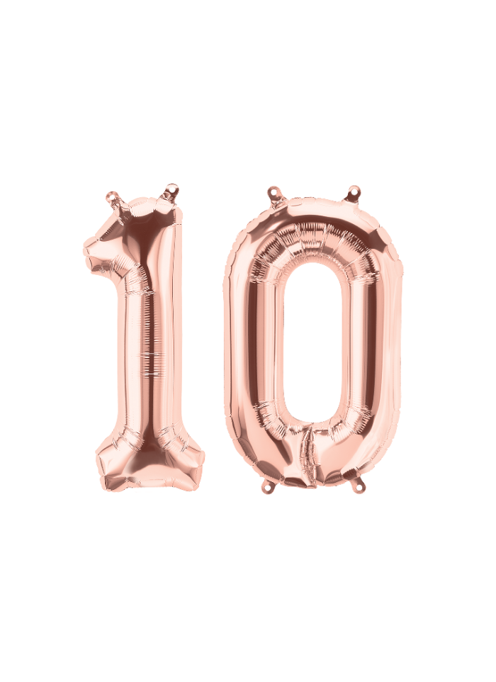 Number 10 Foil Balloon Rose Gold 16 inch pack of 1