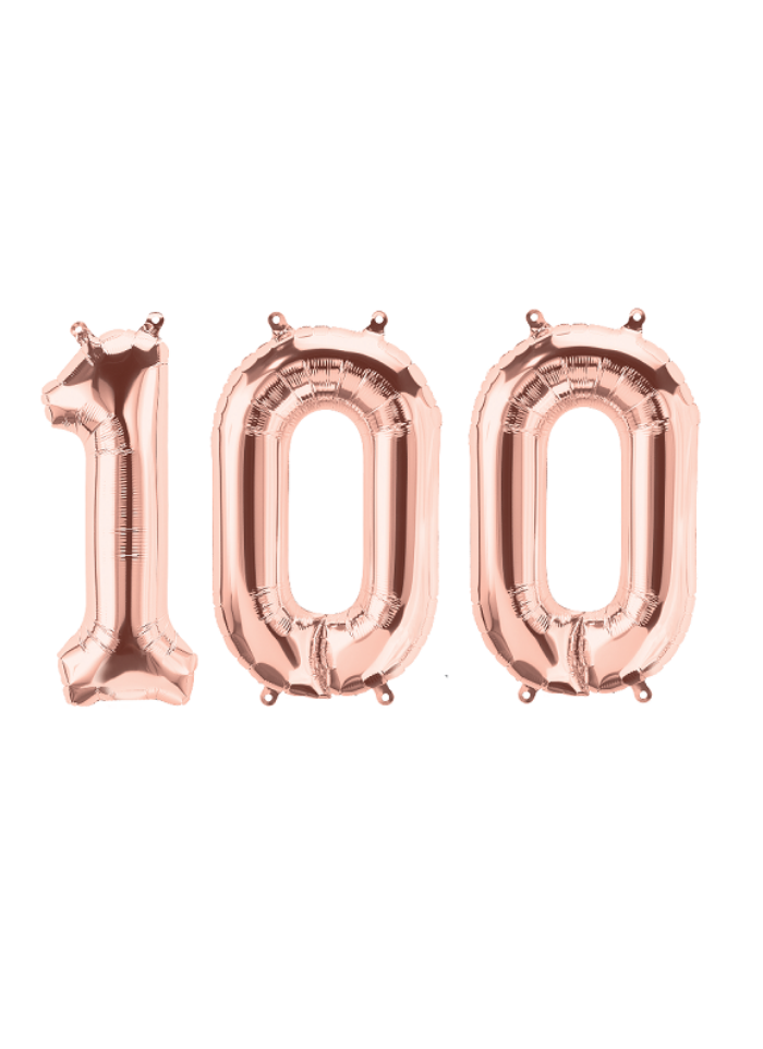 Number 100 Foil Balloon Rose Gold 16 inch pack of 1