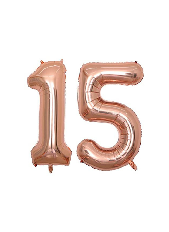 Number 15 Foil Balloon Rose Gold 32 inch pack of 1