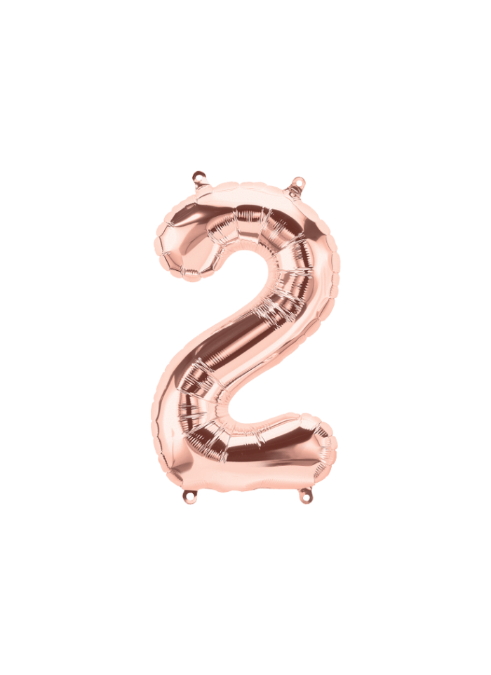 Number 2 Foil Balloon Rose Gold 16 inch pack of 1