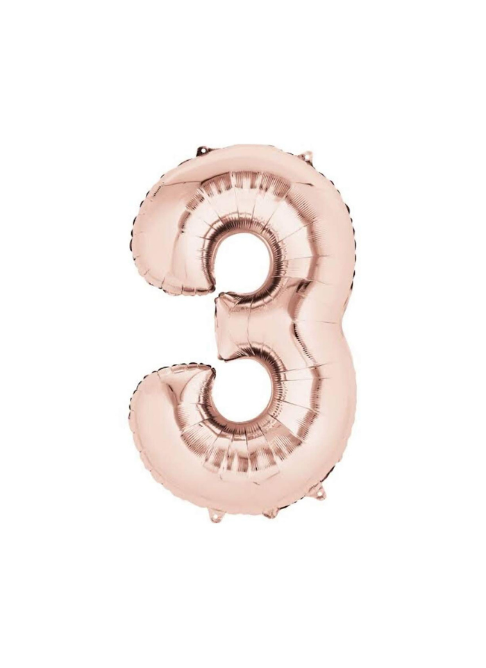 Number 3 Foil Balloon Rose Gold 32 inch pack of 1