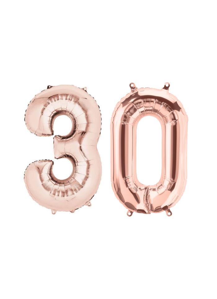 Number 30 Foil Balloon Rose Gold 16 inch pack of 1