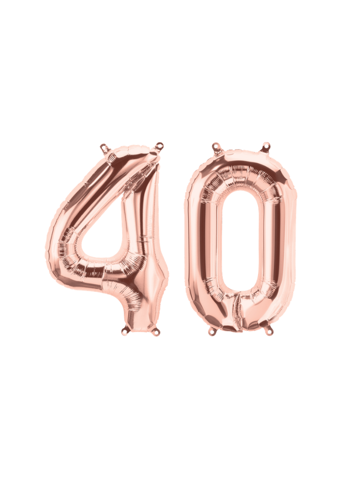 Number 40 Foil Balloon Rose Gold 16 inch pack of 1