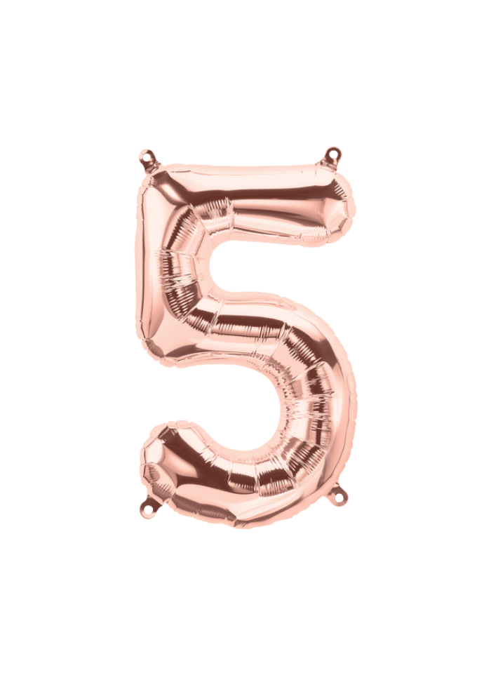 Number 5 Foil Balloon Rose Gold 16 inch pack of 1