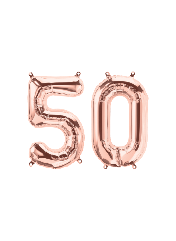 Number 50 Foil Balloon Rose Gold 16 inch pack of 1