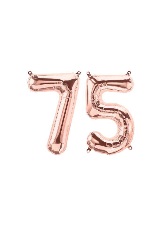 Number 75 Foil Balloon Rose Gold 32 inch pack of 1