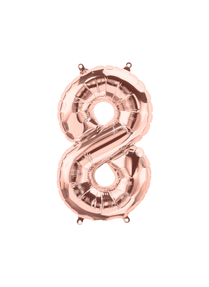 Number 8 Foil Balloon Rose Gold 16 inch pack of 1