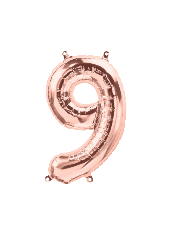 Number 9 Foil Balloon Rose Gold 16 inch pack of 1