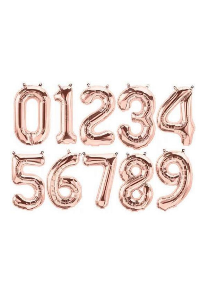 Number 0 To 9 Foil Balloon Rose Gold 10 pieces 32 inch pack of 1