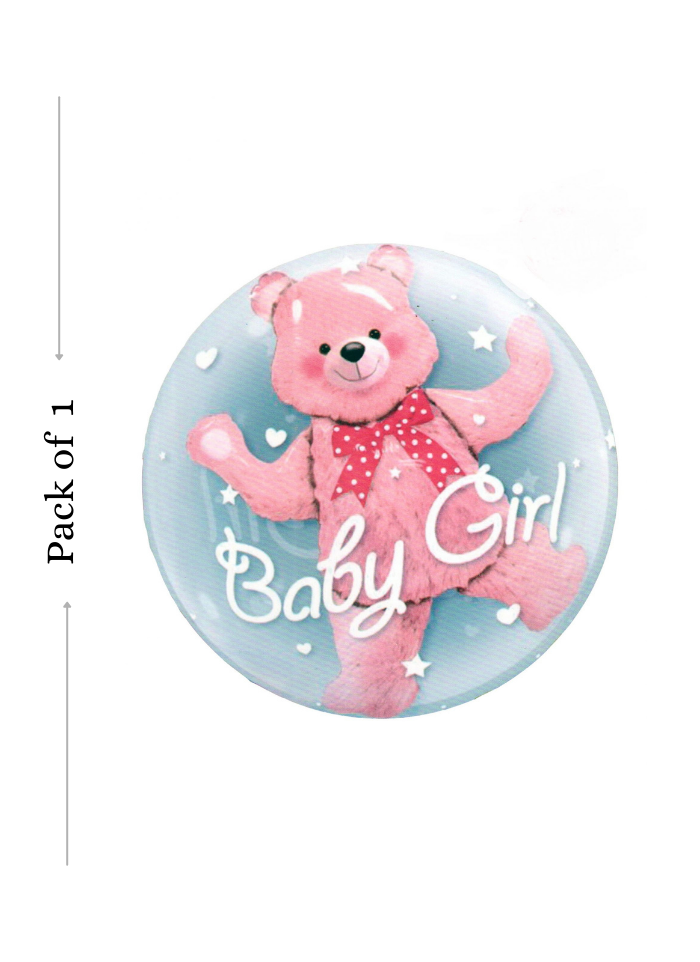 Teddy baby girl foil balloon Pink 24 inch pack of 1