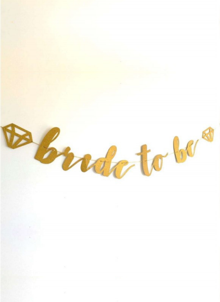 Bride To Be Cursive Banner Gold pack of 1