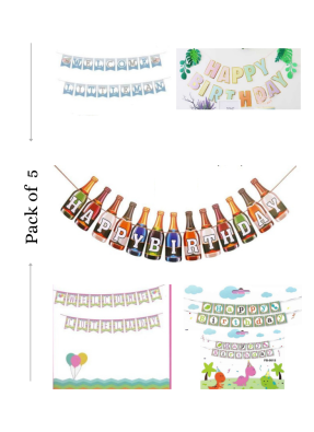 Happy birthday banner 5 pieces pack of 1