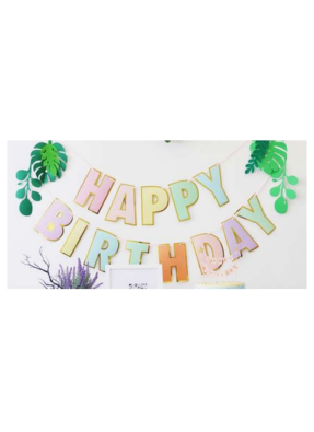 Happy Birthday Banner Pastel Multi Color pack of 1
