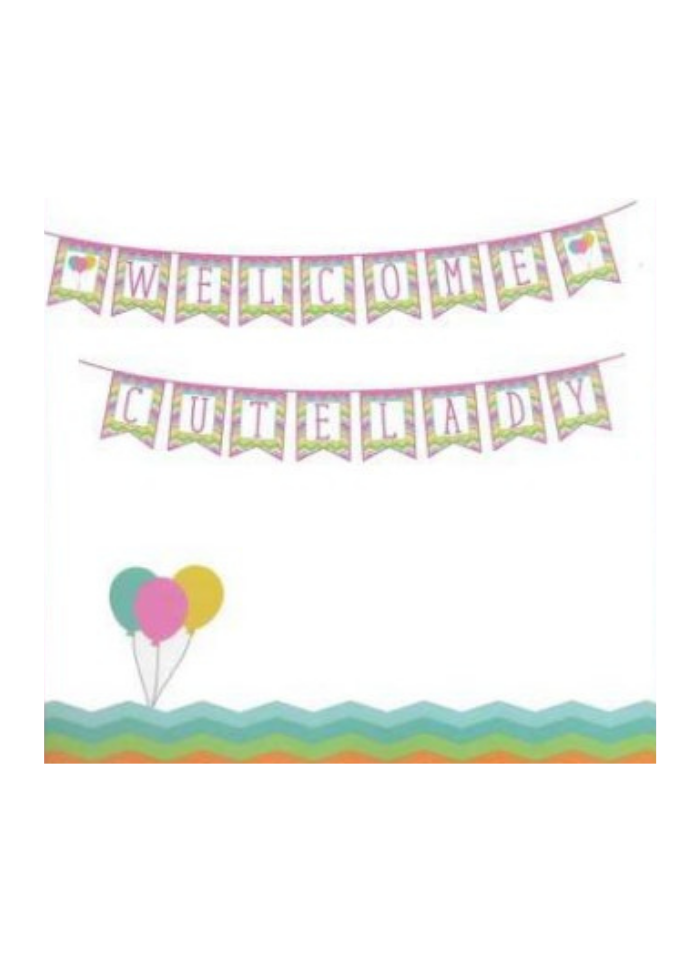 Welcome cute lady banner pack of 1