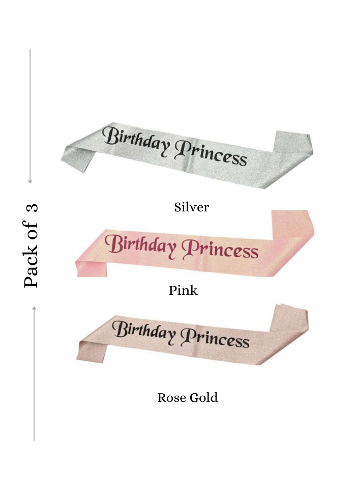 Glitter Sash Birthday Princess Assorted Color 3 pieces pack of 1
