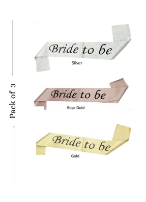Glitter Sash Bride To Be Assorted Color 3 pieces pack of 1