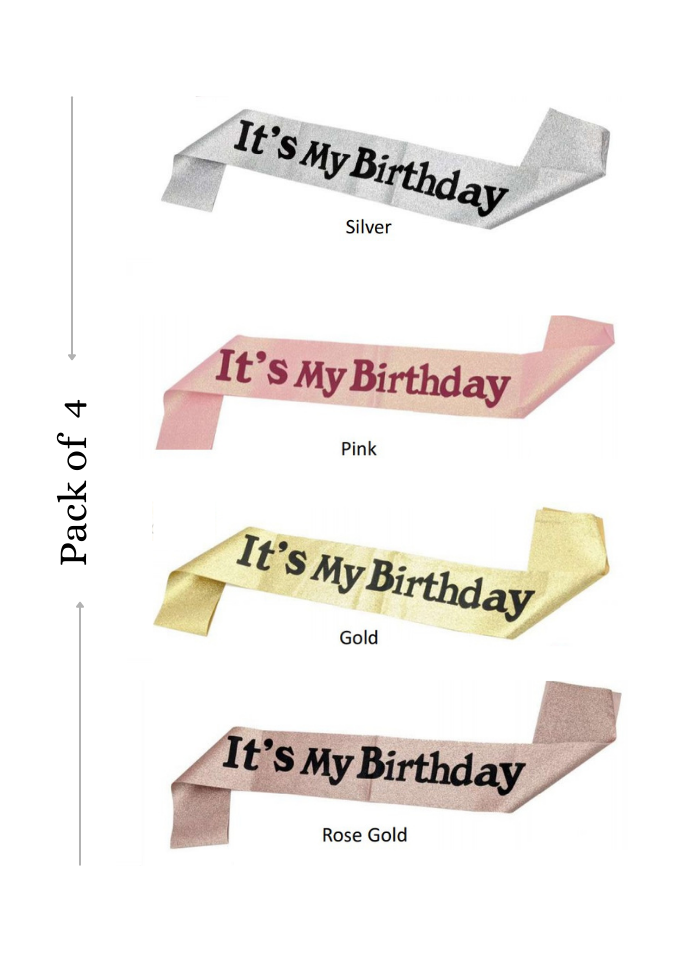 Glitter sash Its my Birthday Assorted Color 4 pieces pack of 1