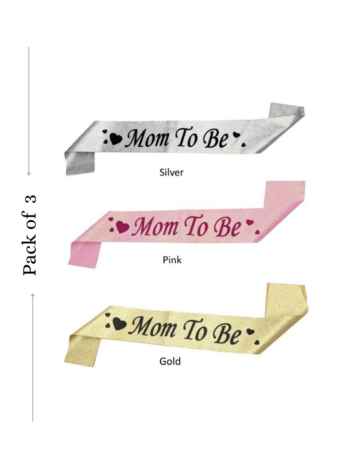 Glitter Sash Mom To Be Assorted Color 3 pieces pack of 1