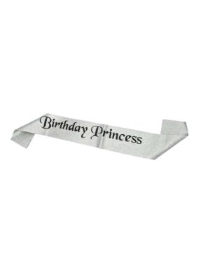 Silver Glitter Sash Birthday Princess pack of 1