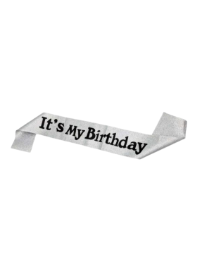 Silver Glitter Sash Its my Birthday pack of 1
