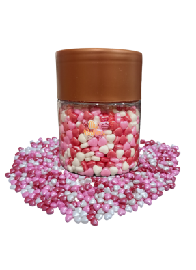 Pink Red White Heart 7 mm pack of 150 gram