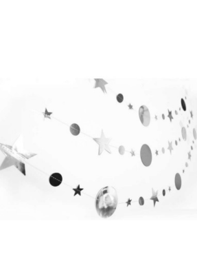 Star Round message string Silver 10 ft pack of 1