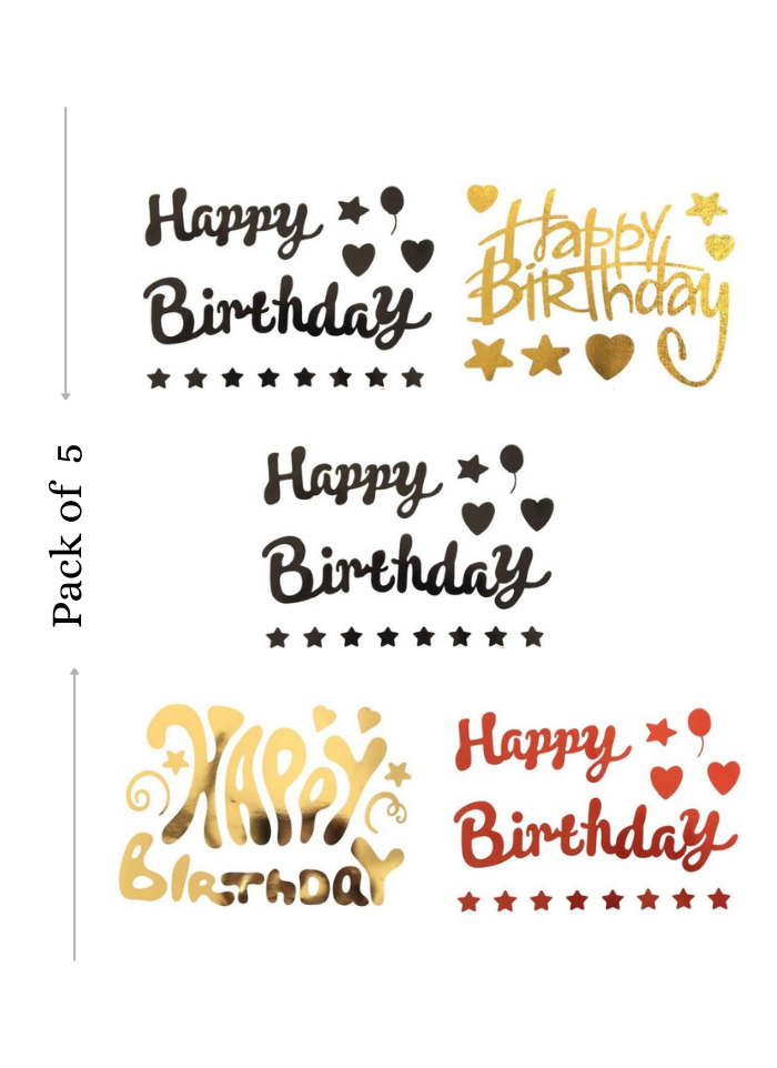 Balloon Sticker Happy Birthday for Bobo Balloon 5 Sheets Black Golden Red A4 size pack of 1