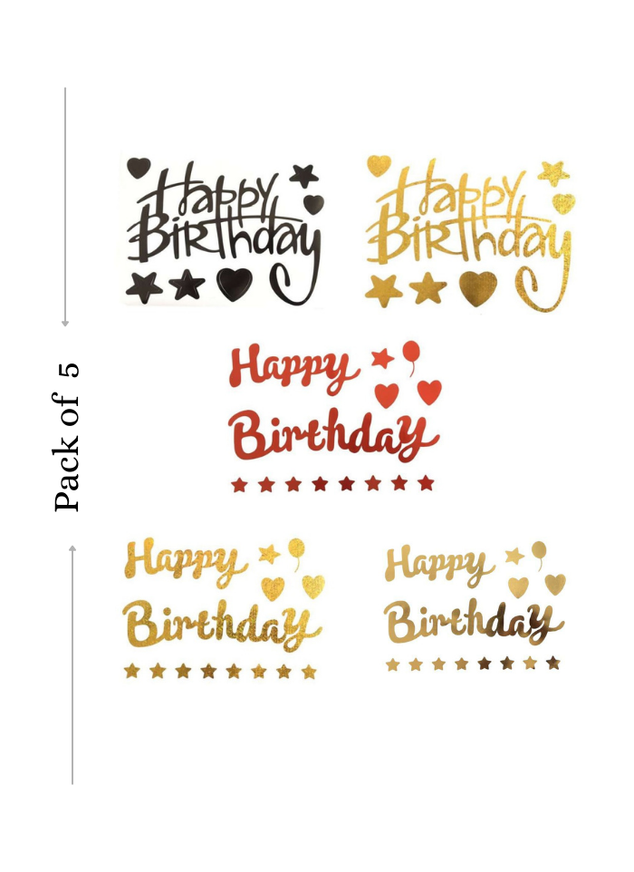 Balloon Sticker Happy Birthday for Bobo Balloon 5 Sheets Black Red Golden A4 size pack of 1
