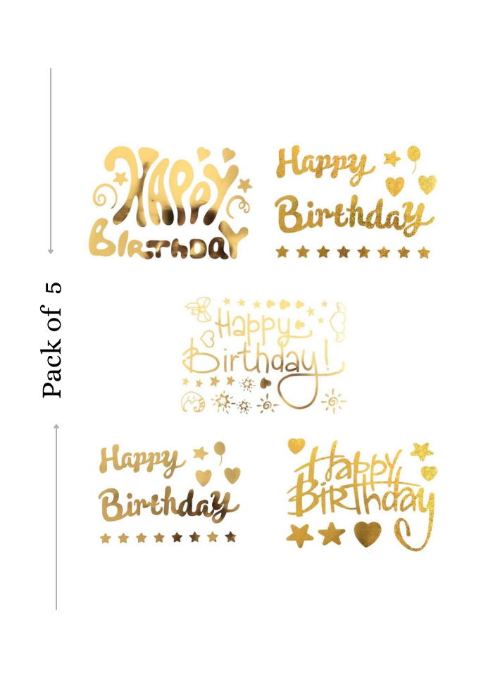 Balloon Sticker Happy Birthday for Bobo Balloon 5 Sheets Golden A4 size pack of 1