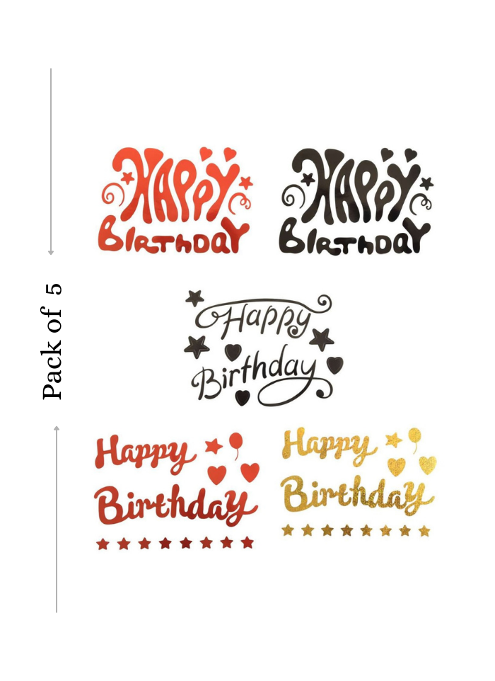 Balloon Sticker Happy Birthday for Bobo Balloon 5 Sheets Red Black Golden A4 size pack of 1