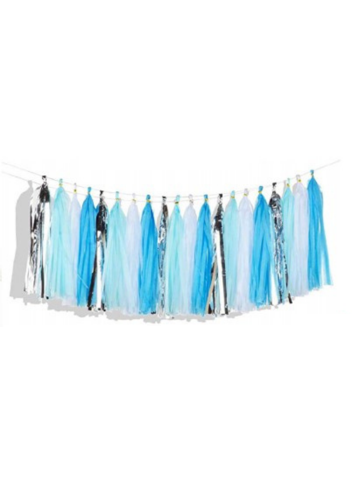 Tassels Hanging Decoration Blue Silver 20 pieces pack of 1