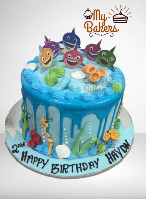 Baby Sea Animals Theme Birthday Cake