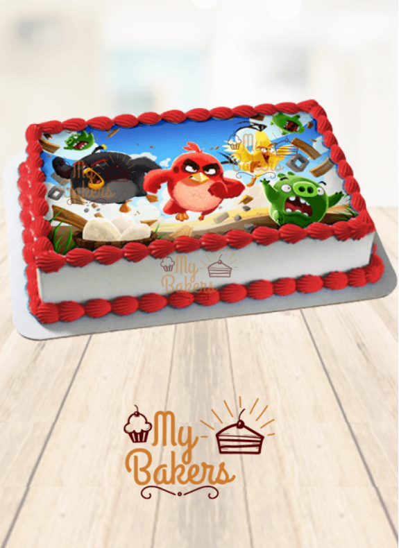 Angry Birds Theme Photo Cake