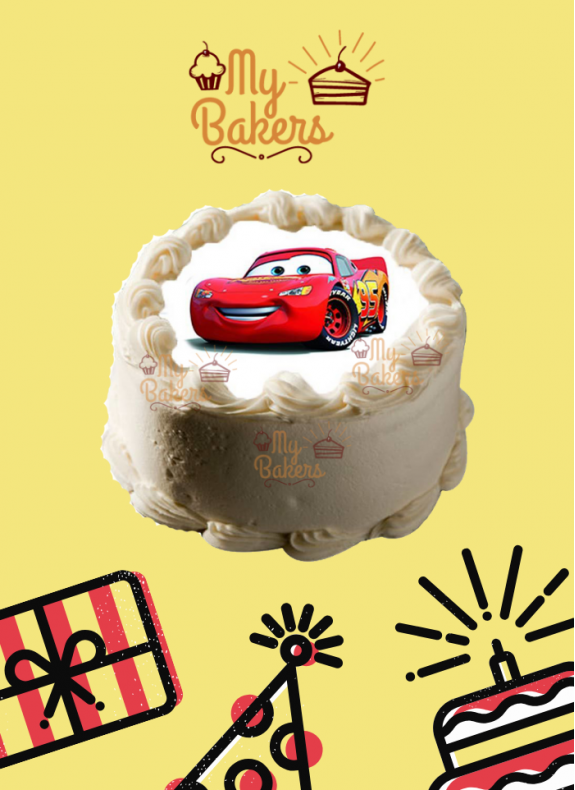 Car Cartoon Theme Photo Cake