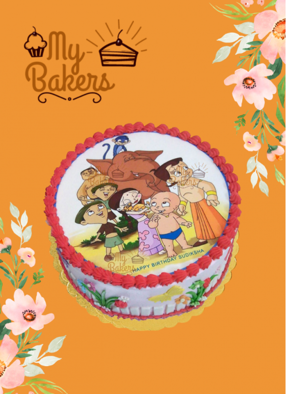 Chotta Bheem & Elephant Theme Photo Cake