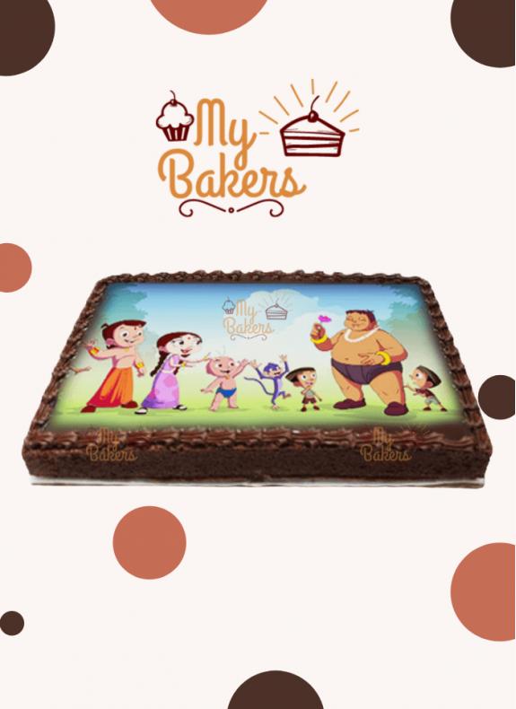 Delicious Chotta Bheem Theme Photo Cake