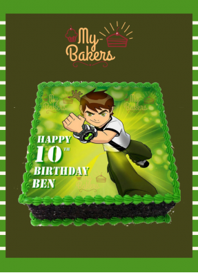 Delicious Ben Ten Theme Photo Cake