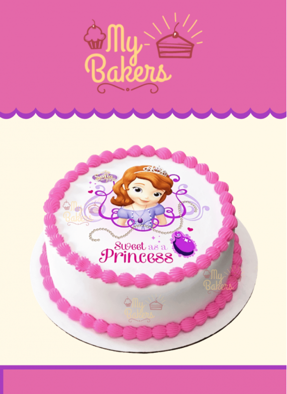 Sweet Sofia The First Princess Theme Photo Cake
