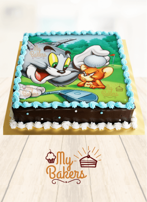 Tom And Jerry Theme Photo Cake