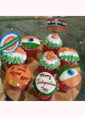 Independence Day Theme Cup Cakes (Pack Of 7 Cup Cakes)