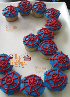 Spiderman Theme Cup Cakes (Pack Of 12 Cup Cakes)