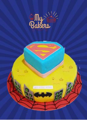 Delish Super Hero Theme Cake