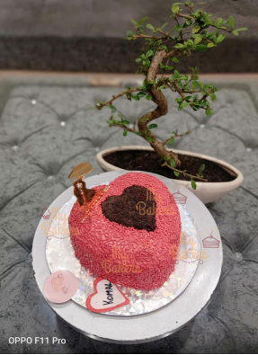 Red Fluffy Heart Shaped Cake For Love