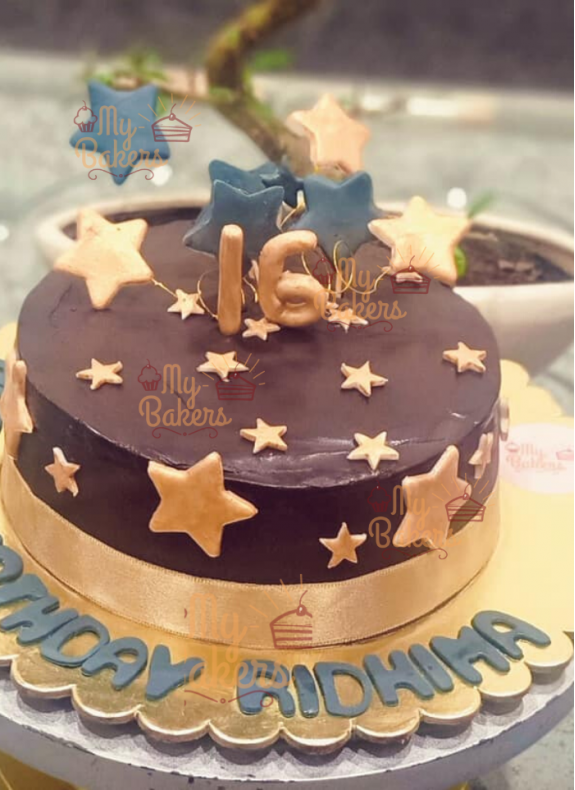 Golden Star Gold Theme Cake